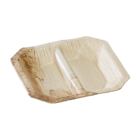 Mini palm leaf plate with 2 compartments  100x100mm H15mm