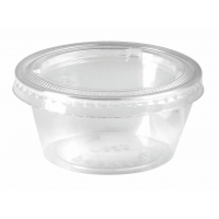 Clear round PP plastic portion cup with flat PET lid 100ml Ø74mm  H35mm
