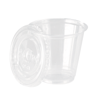 Clear PET plastic cup with flat lid 150ml Ø74mm  H70mm