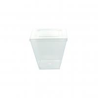 """Zeno"" clear PET plastic flat lid  75x75mm H6mm"