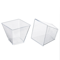 """Zeno"" transparent PS plastic square cup 180ml 75x75mm H71mm"