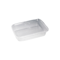 Clear rectangular PP plastic box with lid 1 000ml 188x126mm H74mm