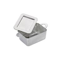 Mini olla rectangular plateada con tapa  95x53mm H35mm