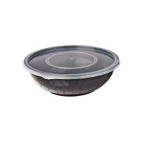 Round black PP box with transparent lid 750ml Ø173mm  H55mm