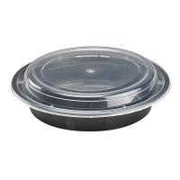 Bol plastique PP rond noir avec couvercle transparent