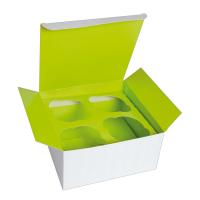 Caja de cartón para cupcakes inserto verde (para 4 piezas).  170x170mm H85mm