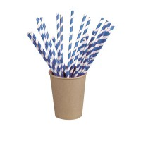 Blue/white striped paper straw  Ø6mm  H210mm