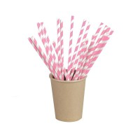 Pink/white striped paper straw  Ø6mm  H210mm