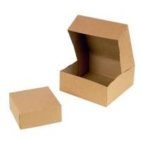 Boîte pâtissière carton kraft brun  140x140mm H60mm