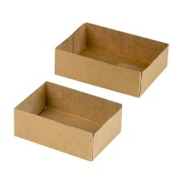 Brown cardboard pastry box without lid  140x100mm H48mm