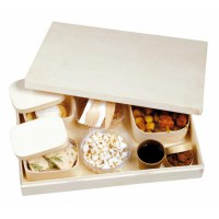 """Atlas"" lunch box with a set of 4 wooden boxes and cutlery  380x275mm H55mm"