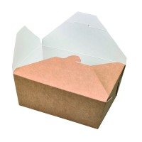 """Nature"" biodegradable greaseproof kraft meal box 2 300ml 215x160mm H90mm"