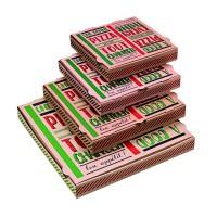 """Boîte à pizza carton brun décor """"Une bonne pizza""""  400x400mm H35mm"""