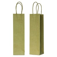 Kraft/brown paper bottle bag with twisted handles 0ml   H140mm