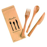 Bamboo cutlery kit 3/1: knife fork tea spoon, transparent wrap   H160mm