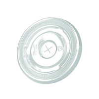 Clear PET plastic flat lid with straw slot  Ø95mm