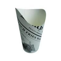 Gobelet snack carton blanc décor journal  Ø88mm  H133mm