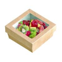 """Boîte """"Kray"""" carrée carton brun avec couvercle à fenêtre en PLA 500ml 135x135mm H50mm"""