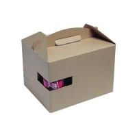 Caja kraft Lunchgo con asa y soporte vaso  300x200mm H175mm