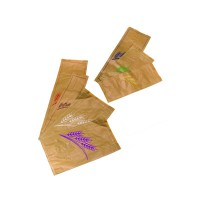 Kraft/brown paper bread bag with blue design  170x70mm H490mm