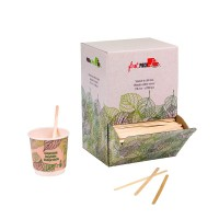 Wooden coffee stirrer with rounded end in dispenser box 0ml   H110mm