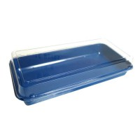Plastic blue lunch box with transparent lid  270x135mm H54mm