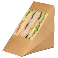 Kraft cardboard triple sandwich wedge with window  82x123mm H123mm