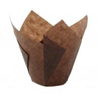 """Dark brown """"tulip"""" greaseproof paper baking case  Ø30mm  H60mm"""