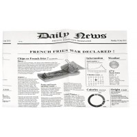Greaseproof white paper with newsprint design  270x350mm