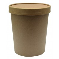 Kraft cardboard cup with cardboard lid for hot and cold foods 940ml Ø116mm  H135mm