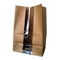 Kraft paper SOS bag with window  180x110mm H265mm