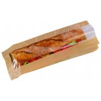 Kraft paper sandwich bag with window  120x40mm H340mm