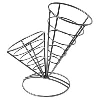 Black metal double cone basket  267x241mm