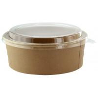 """Buckaty"" round kraft cardboard salad bowl with clear PET plastic lid 1300ml Ø185mm  H65mm"