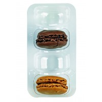 Clear PET rectangular case insert for 4 macarons  128x68mm H23mm