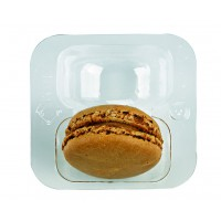 Clear PET rectangular case insert for 2 macarons  69x64mm H23mm