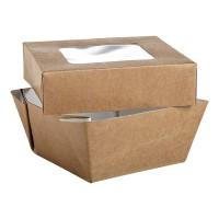 Caja cuadrada de cartón kraft con ventana 200ml 85x85mm H40mm