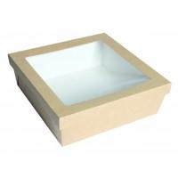 Caja cuadrada de cartón kraft con ventana 4000ml 245x245mm H80mm