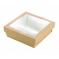 """Boîte """"Kray"""" carrée carton brun avec couvercle à fenêtre 700ml 155x155mm H50mm"""