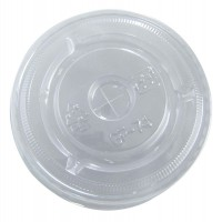 Clear PET plastic flat lid with straw slot  Ø74mm