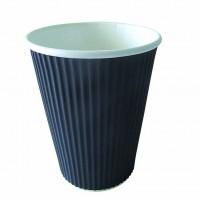 """Rippley"" black rippled wall coffee cup 350ml 90mm  H107mm"