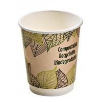 Double wall PLA paper cup 230ml Ø80mm  H90mm