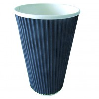 """Rippley"" black rippled wall coffee cup 450ml Ø90mm  H136mm"