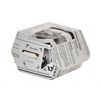 Boîte burger carton blanc décor journal  75x75mm H50mm