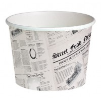 """White cardboard """"Deli"""" container with newspaper print 650ml Ø114mm  H99mm"""