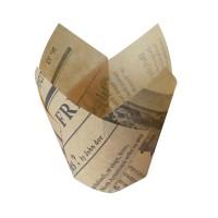 Caissette de cuisson forme tulipe en papier brun ingraissable impression journal  Ø30mm  H60mm