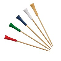 Bamboo skewer assorted colours golf tee design   H120mm