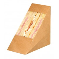 Kraft cardboard double sandwich wedge with window  72x123mm H123mm