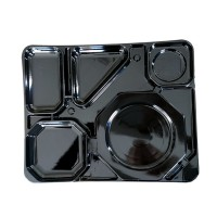 Black cardboard catering 6-compartment tray  325x400mm H15mm