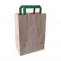 Kraft-brown recycled paper carrier bag with green handles  200x100mm H290mm